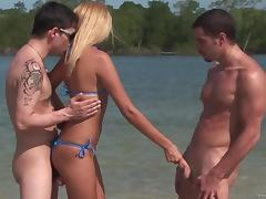 Charming Barbie Banks Goes Hardcore With Two Guys At The Beach