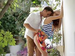 couple having fun in the garden