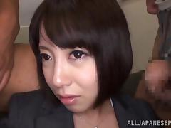 Gorgeous Japanese AV Model in hardcore gangbang