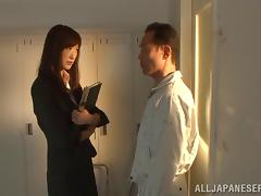 Japanese teacher gets her pussy receive banging in the locker room