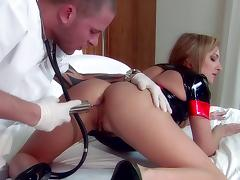 A bad nurse gets anal probed and her pussy fucked by a doctor